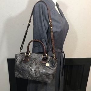 Brahmin Embossed Croc Gray & Brown Handbag